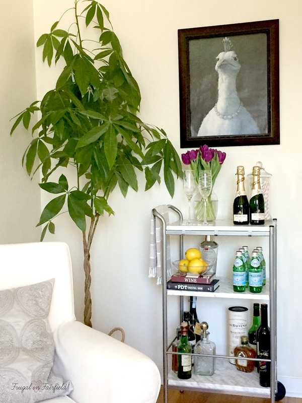 Home bar cart styling