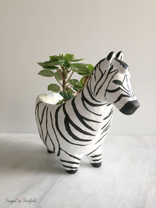 DIY Clay Zebra Planter