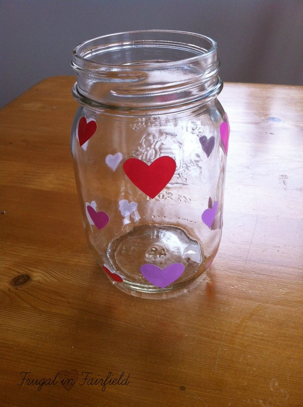 DIY painted heart mason jar | Frugal in Fairfield